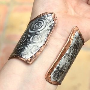 Reversible Copper Rose Silver Cuff Bracelet Boho